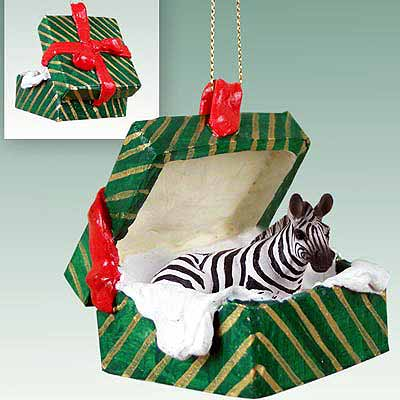 Zebra Gift Box Christmas Ornament