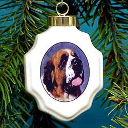 St. Bernard Christmas Ornament Porcelain