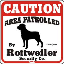 Rottweiler Caution Sign