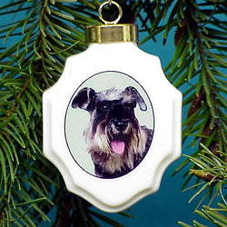 Schnauzer Christmas Ornament Porcelain