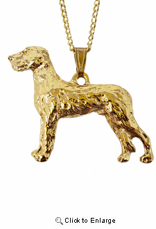Irish Wolfhound 24K Gold Plated Pendant with Necklace
