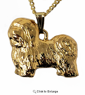 Havanese 24K Gold Plated Pendant with Necklace