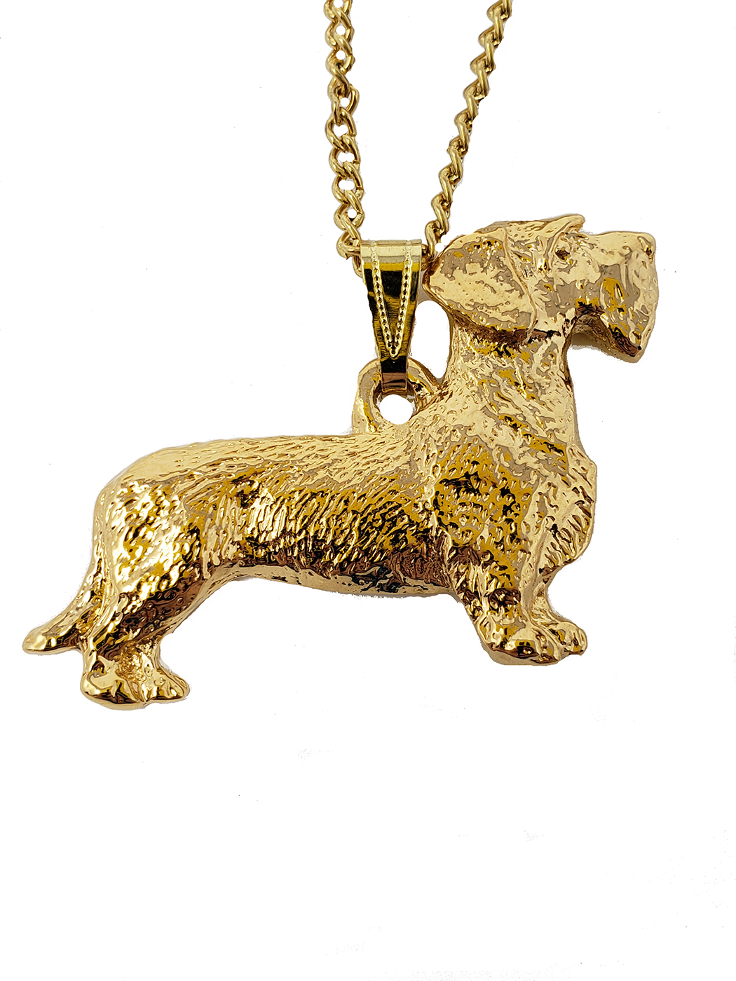 Wirehaired Dachshund 24K Gold Plated Pendant with Necklace