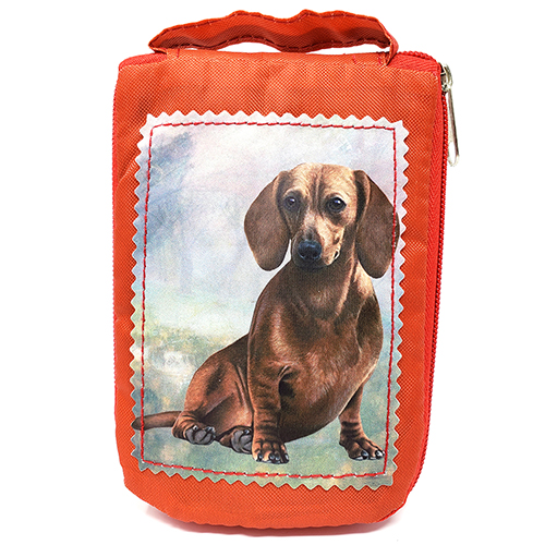 Dachshund Tote Bag Red - Foldable to Pouch
