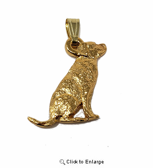 Labrador Retriever 24K Gold Plated Pendant Sitting