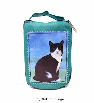 Black and White Cat Tote Bag - Foldable to Pouch