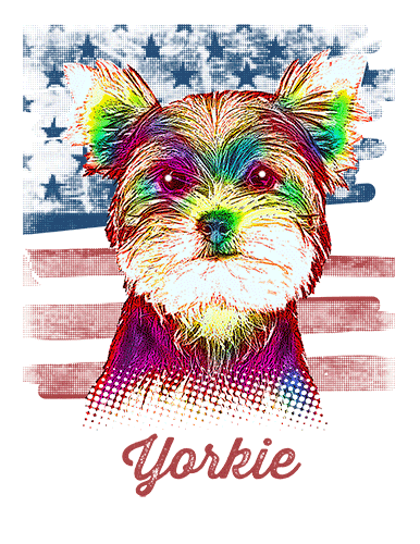 Yorkshire Terrier T Shirt American Flag