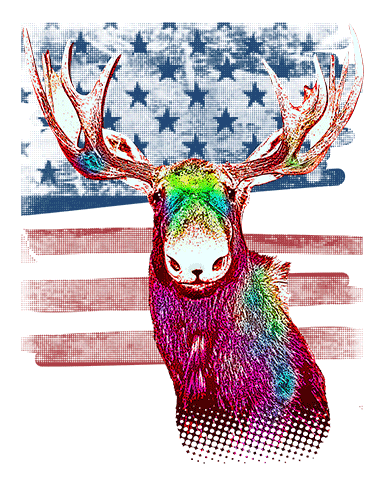 Moose T Shirt American Flag