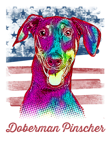 Doberman Pinscher T Shirt American Flag