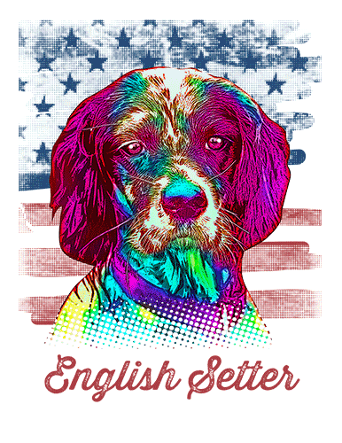 English Setter T Shirt American Flag