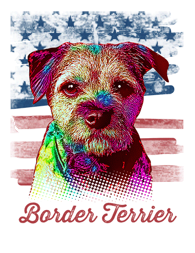 Border Terrier T Shirt American Flag