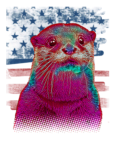 Sea Otter T Shirt American Flag