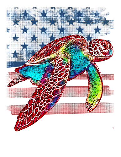 Sea Turtle T Shirt American Flag
