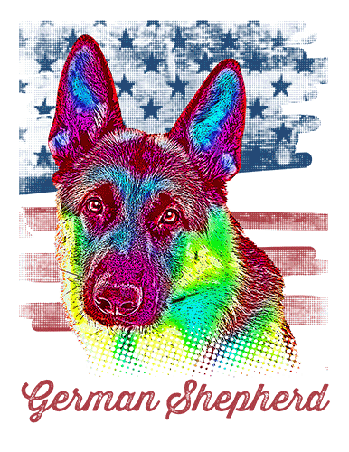 German Shepherd T Shirt American Flag