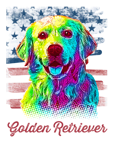 Golden Retriever T Shirt American Flag