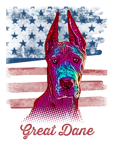 Great Dane T Shirt Cropped American Flag