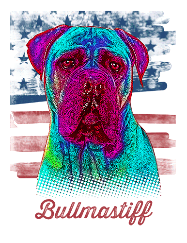 Bullmastiff T Shirt American Flag