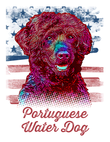 Portuguese Water Dog T Shirt American Flag