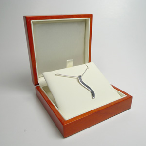 Silver Ogee Pendant In Wood Jewelry Box 5th Anniversary Gifts