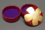 Petite Gold Ogee Necklace in Red Lacquered, Wood Jewelry Box