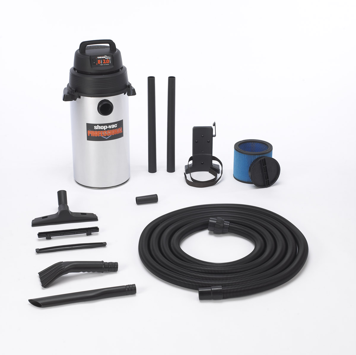 shop vac stainless steel 8 gallon wall mounted garage wet dry vacuum. Black Bedroom Furniture Sets. Home Design Ideas