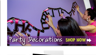 This page contains bachelorette party decorations like plates, cups, banners, caution tape and other fun things to decorate a bachelorette party.