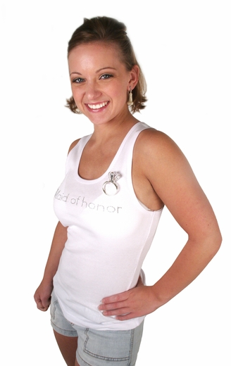 Maid of Honor Tank - White with Gemstones