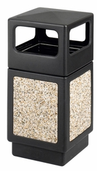 Safco Canmeleon Receptacle with Stone Aggregate Panel - click to enlarge