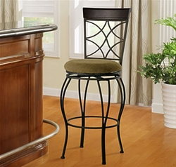 """Linon Curves Metallic Brown 30"""" Bar Stool with Brown Wood - click to enlarge"""