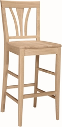 """International Concepts Unfinished 29"""" Seat Height Stool with Fanback - click to enlarge"""