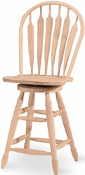 """Whitewood International Concepts Unfinished 24"""" Steambent Windsor Stool - click to enlarge"""