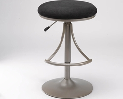Hillsdale Backless Swivel Venus Bar Stool with Black Suede - click to enlarge