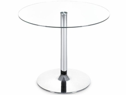Chromed steel Galaxy Dining Table with Glass Top - click to enlarge