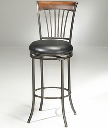 Hillsdale Riley Wood Top Metal Spoke Swivel Counter or Bar Stool - click to enlarge