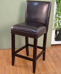 4D Concepts Solid Wood Bar Stool Faux Leather Seat - 555401 - click to enlarge
