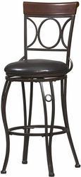 "Linon Circles Back 30"" Bar Stool with Brown & Black Finish - click to enlarge"
