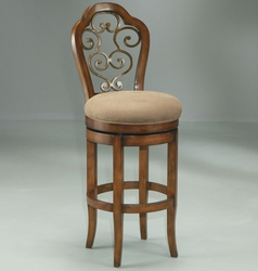 Pastel Carmel Cosmo Sepia Finish Swivel Barstool with Wood Frame Seat - click to enlarge