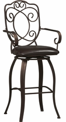Linon Crested Back Bar Stool - 02787MTL-01-KD-U - click to enlarge