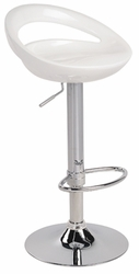 Lumisource Swizzle White Bar Stool with Foot Rest - click to enlarge