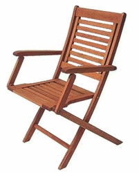 Teak Outdoor Directors Chair with Curved Lumbar Support - Set of 2 - click to enlarge