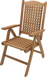 Teak Patio Deck Chair in Stainless Steel Hardware - click to enlarge