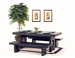 Diamond Sofa Rectangle Dining Table with 2 Benches in Dark Walnut - click to enlarge