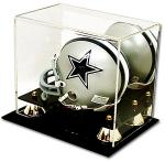 Deluxe Mini Helmet Display case w/Gold Risers & Mirror back