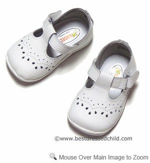 Angel Baby Toddler Girls' T Strap Shoes in White Leather