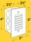 Corona CL-356 Recessed Vertical Step Light with Louvered Face Plate, 12 Volts
