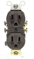 Leviton 5320-S Self-Grounding Duplex Receptacle, 15 Amp