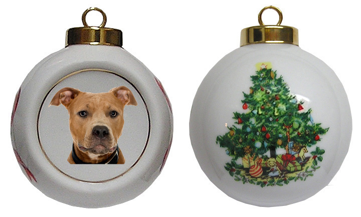Pitbull Christmas Ornament.Pitbull Porcelain Ball Christmas Ornament