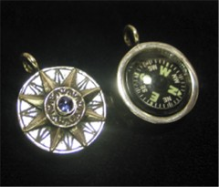 Compass rose necklace compass rose pendant with blue iolite working compass aloadofball Image collections
