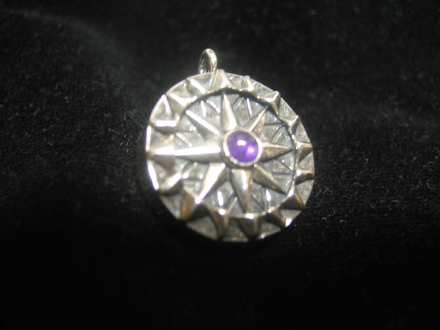 Compass rose pendant with amethyst cabochon and working compass special edition compass rose amethyst pendant with working compass aloadofball Images