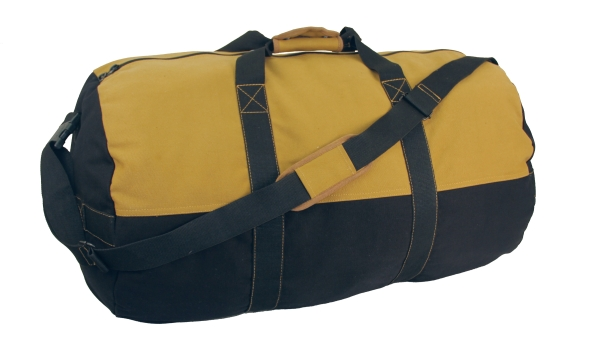 "Duffel Bag, 24"" x 14"" Two Tone (Colors: Black With Tan)"